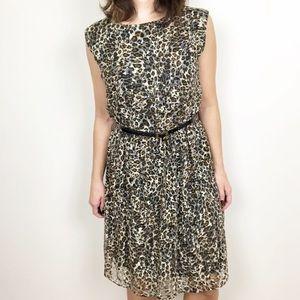 Julian Taylor cheetah print mesh overlay dress